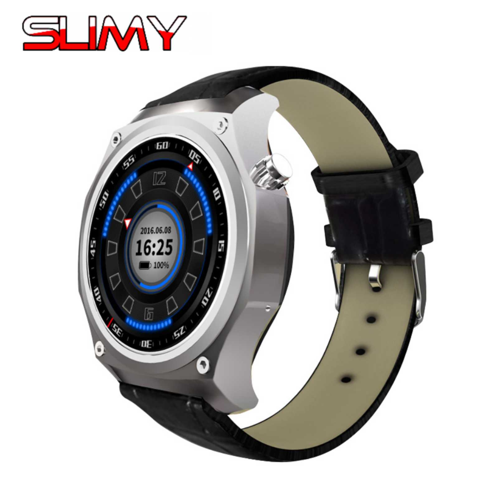 Slimy 3G WIFI GPS Bluetooth Smart Watch Android 5.1 OS MTK6580 1.3 Inch 2.0MP Camera Smartwatch for Iphone Huawei Phone Watch slimy mtk6580 android 5 1 os gps smart watch phone with 5 0 mp camera support wifi 3g sim card smartwatch wristwatch for men