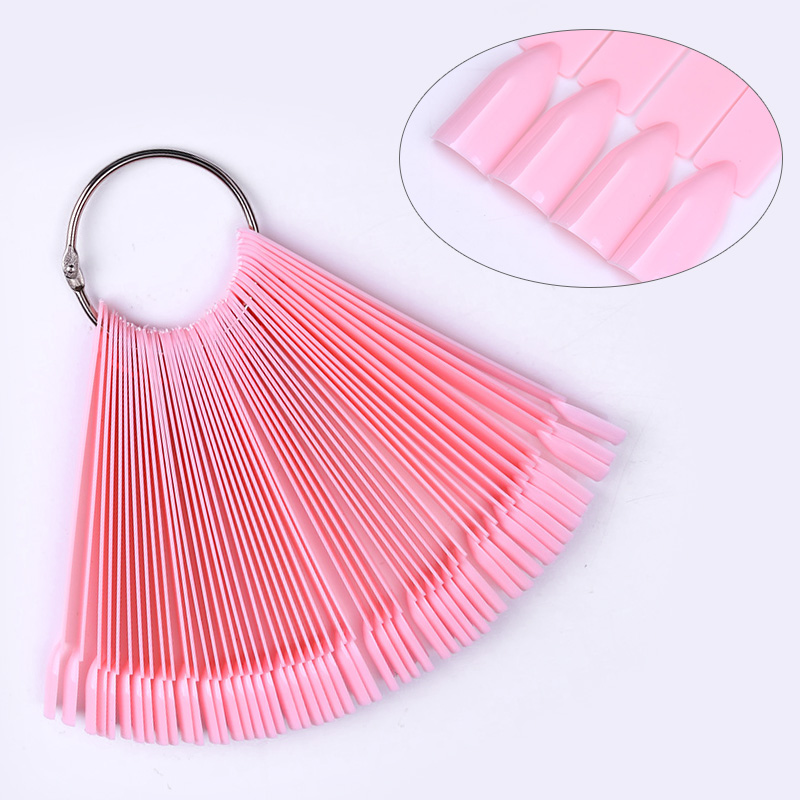 50 Pcs False Nail Tips Pink Acrylic UV Nail Art Polish Color Card Fan Manicure Nail Salon Practice Display Tool 1 roll 10m clear nail double side nail adhesive tape strips tips transparent manicure nail art tool