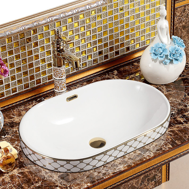 Chinese Silvergold Mosaic Ceramic Oval Semi Countertop Bathroom
