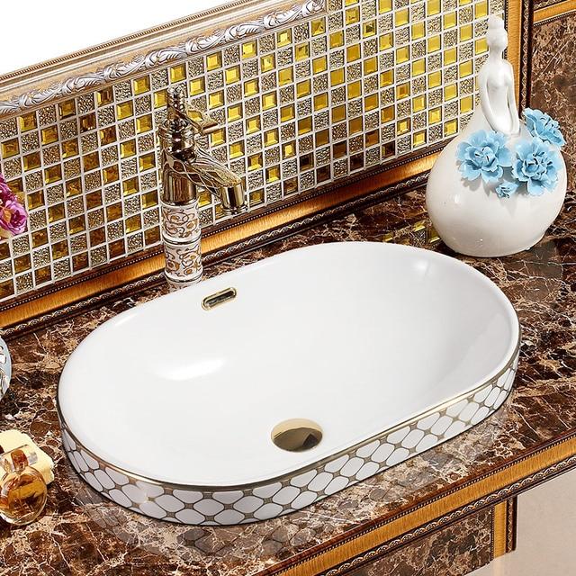 Chinesische Silber Gold Mosaik Keramik Oval Halb Arbeitsplatte
