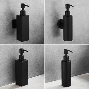 Image 5 - נוזל סבון Dispenser יד מטבח כיור סבון מיכל 304 נירוסטה שחור אמבטיה שמפו בעל קיר רכוב בקבוק