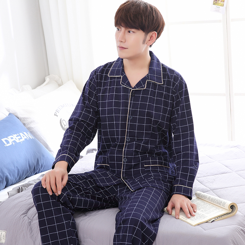 New Arrival Sleepwear Men's Long-sleeved Autumn Winter Cotton Plaid Tracksuit Plus Size M-4XL Pajamas Men Fashion Pijama Hombre