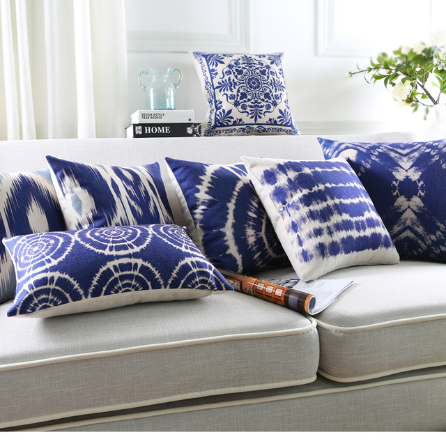 Batik Patterns Cushion Covers Chinese Geometric Stripe Mandala Plaids Pillow Cover Sofa Seat Decorative Linen Cotton