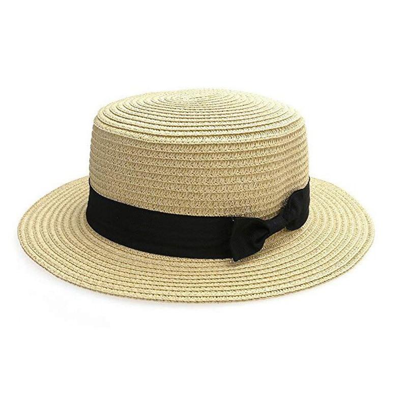 2019 Parent-child Summer Hat Beach Straw Hat Panama Ladies Cap Girls Handmade Casual Flat Brim Bowknot Sun Hats For Women Black