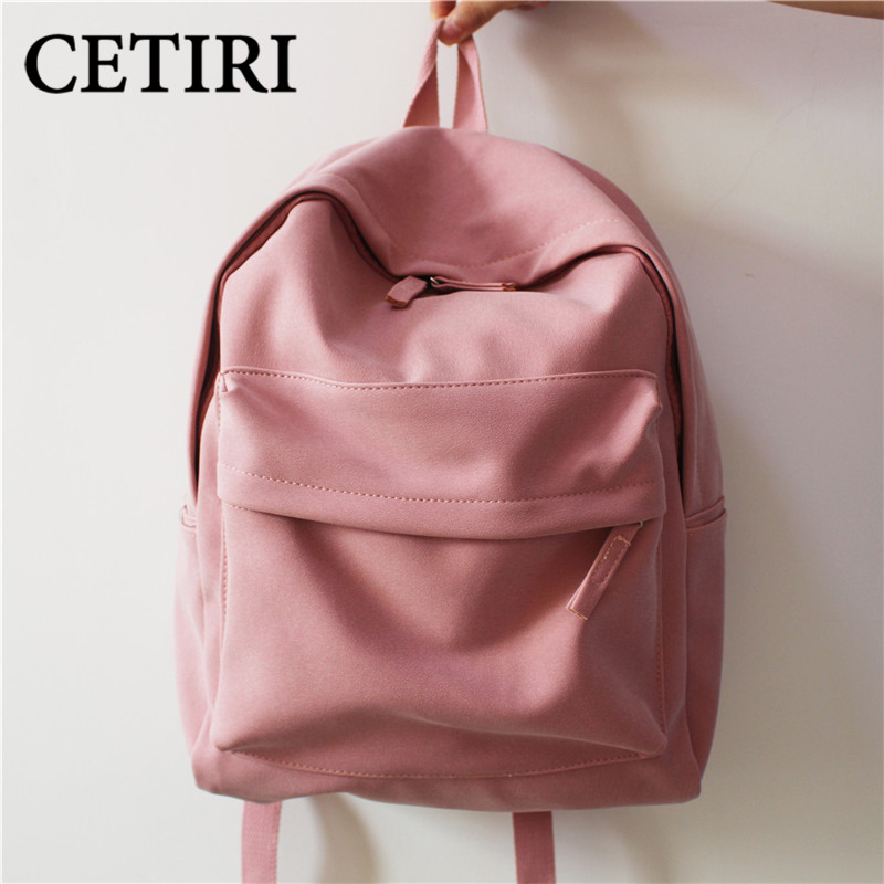 CETIRI School Girl Backpack Women Leather Pu Love Pink Harajuku Backpack Teenagers Travel Bookbag Mochila Couple Black Sac A Dos women backpack soft leather large capacity casual travel backpack school bags for girls student bookbag mochila mujer sac a dos