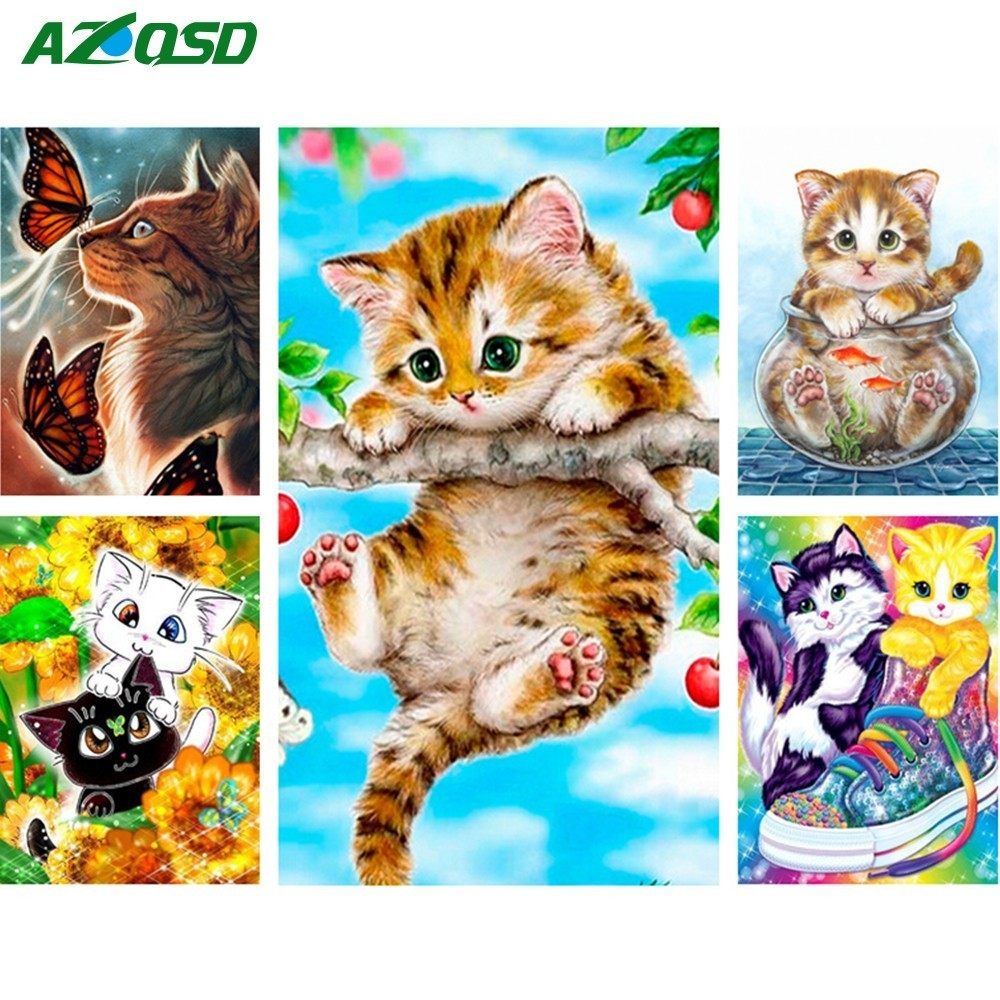 AZQSD 5D DIY Diamond Painting Cross Stitch Animals Wall Decor Full Square Diamond Embroidery Cat Needlework Resin Gift
