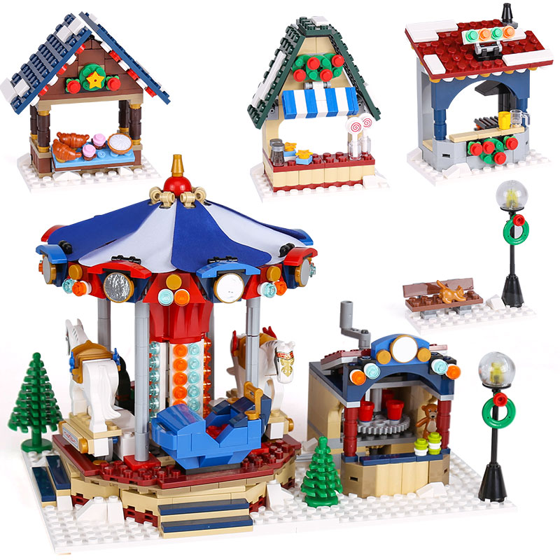 Lepin 36010 The Winter Village Market Set Assemblag Building Blocks Bricks Educational Toys Gifts Compatible With lego 10235 shirly new rest stop dream house building blocks compatible with lego bricks girl s educational toys birthday christmas gifts