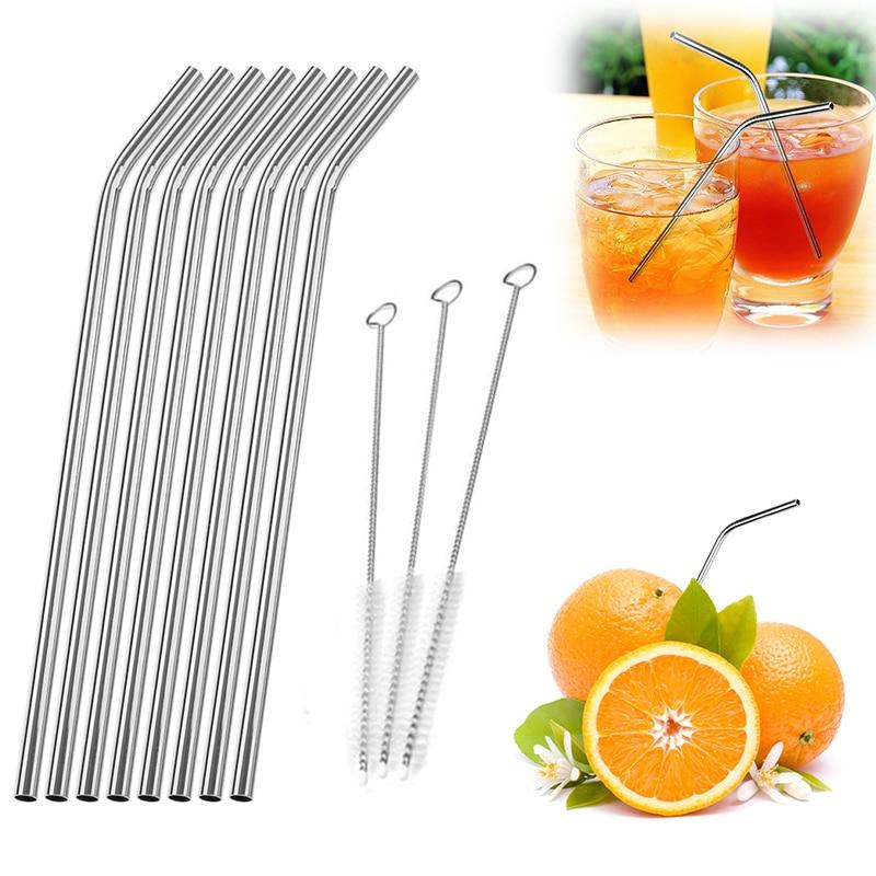 Paja de paja para beber de acero inoxidable de 8 piezas con 3 - Cocina, comedor y bar