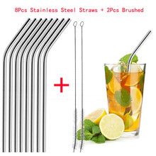 8 Long Reusable Drinking Straw Metal With Cleaner Brush Fits 20 Oz & 30 Cups Brushed Included