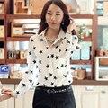 Mujer verano más tamaño Estrellas Impreso Gasa floja señora Camisa delgada suave chaqueta de Punto de la gasa delgada blusa mujer camisas con botones