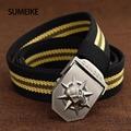 [SUMEIKE] Men Belt Casual Jeans Canvas Belt Striped Belts Automatic Buckle Male Waist Belts 110cm-140CM
