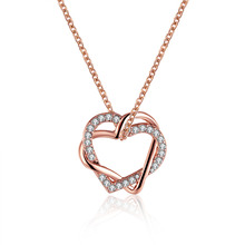 New Romantic Rose Gold Heartshaped Zircon Best Friends Pendant Fashion Chain Necklace Women Jewelry Accessories Cheap Wholesale