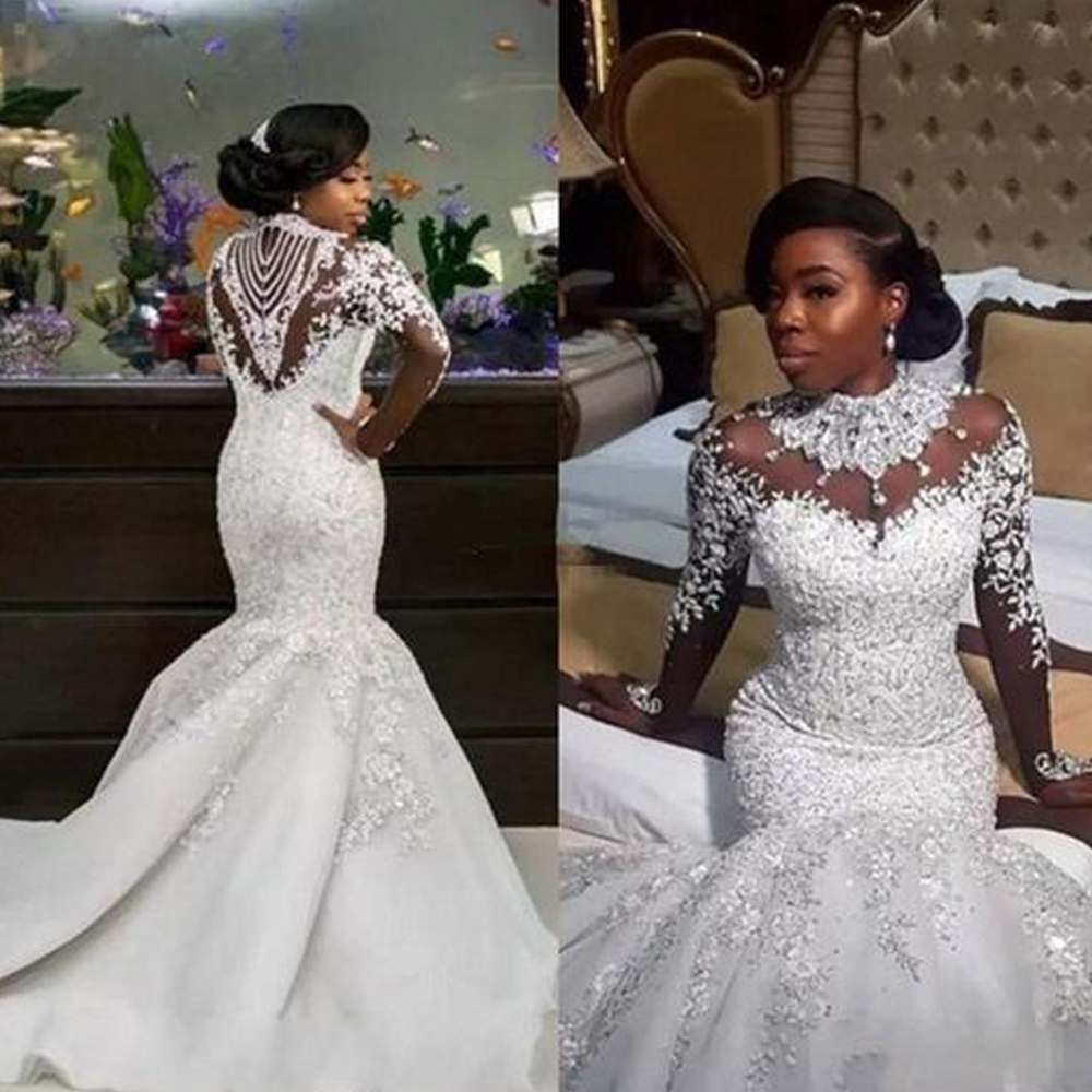 robe de mariee 2019 wedding dress crystal high neck beaded bridal dresses sheer back long sleeve wedding gowns trouwjurk in Wedding Dresses from Weddings Events