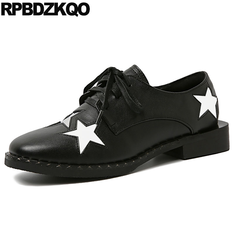 Designer Square Toe Ladies Brand Vintage Women Oxfords Shoes Rivet Lace Up Black Stud Star British Style Flats Italian Metal women white brogue stud shoes british style metal flats rivet fashion oxfords black designer spring autumn punk rock belts zip