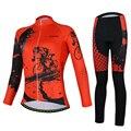 Aogda rojo Ciclismo Jersey de manga larga conjunto de ropa de bicicleta de carretera para mujer primavera otoño bicicleta ropa de secado rápido Ciclismo