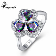 lingmei New Arrival Three Heart Design Multicolor & White CZ Silver Color Ring Size 6 7 8 9 Romantic lovers Jewelry Wholesale