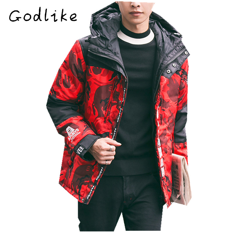 GODLIKE Winter new down jacket, south Korean version of short style camouflage, youth casual down jacket, fashion casual coat
