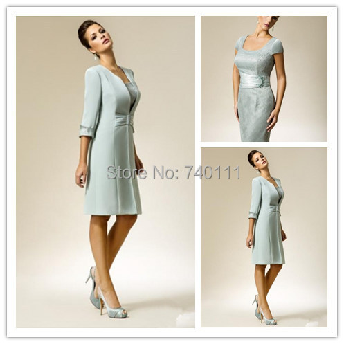 Free Long Coat Knee Length Mother Of The Bride Dress Outfit 3/4 ...