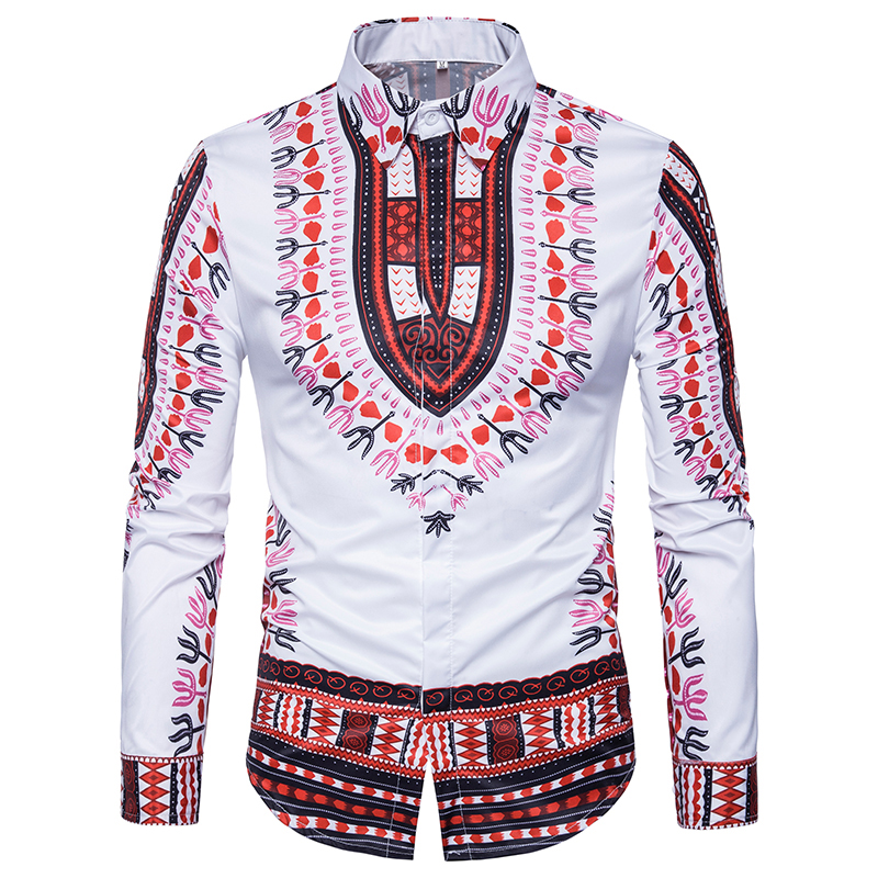2018 New mens casual shirt 3D stereo National style printing popular men Urban fashion E ...