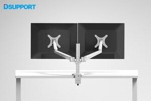 Image 5 - Настольная подставка для монитора с двумя рычагами, 10 27 дюймов, настольная подставка с двойным экраном, держатель для монитора, настольная подставка, полка для монитора
