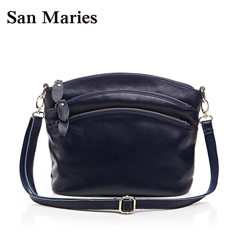 First Layer Brown Genuine Cow Leather Bags Mummy Casual Women Messenger Bag Ladies Handbag With 3