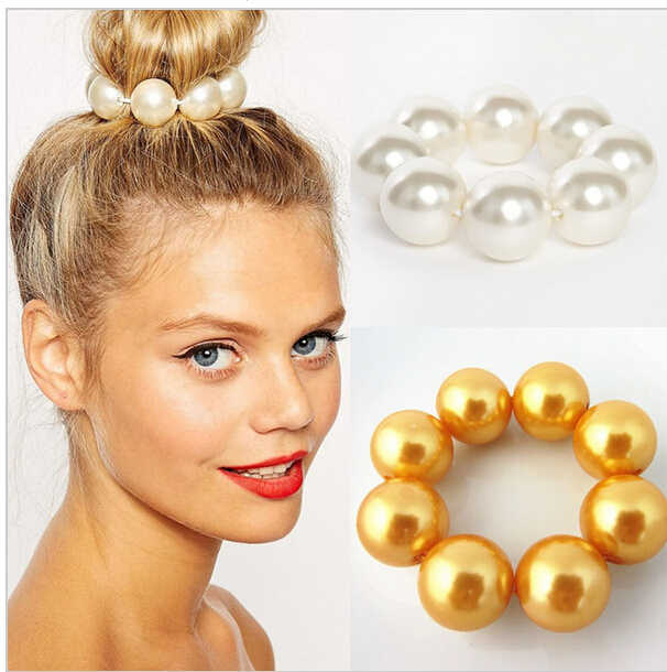 New Korea Jewelry Hair Accessories 16mm Big Pearl Hairbands for Women