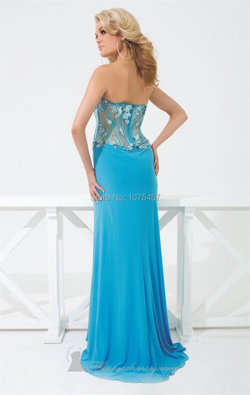 Latest Design Sexy High Slit Prom Dress 2015 Sexy See Through ...