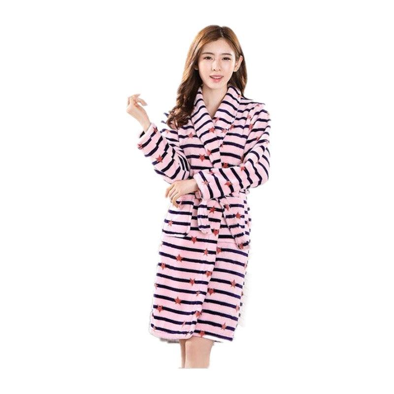 Women\'S Bathrobe Nightgown Kimono Bath Robe Women Winter Warm Coral Fleece Floral Dressing Gown Sleepwear Female Home Clothes