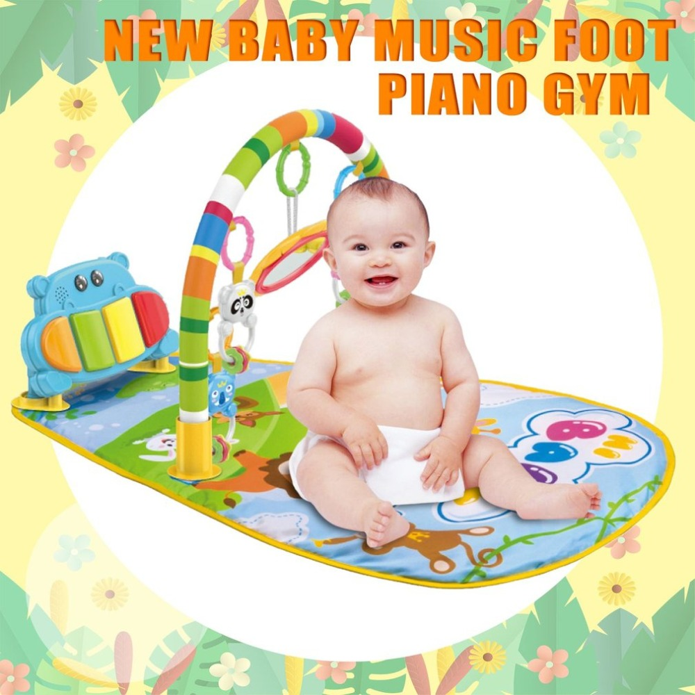 Multifunction Baby Play Mat Rug Toys Crawling Music Play Game Developing Mat with Piano Keyboard Infant Carpet Education Rack
