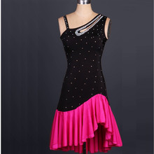 Elegant fish tail Latin Dance costumes Modern Dance Dresses rhinestone red/black Tango/samba/Rumba Competition Dress