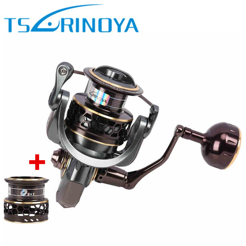 TSURINOYA Jaguar4000 Two Metal Spool Spinning Fishing Reel 9+1BB/5.2:1/7kg Carretes Pesca Carretilha Moulinet Peche De Pescaria tsurinoya jaguar 4000 spinning fishing reel double spools 9 1bb 5 2 1 max drag 7kg wheel moulinet carretilhas de pesca coil