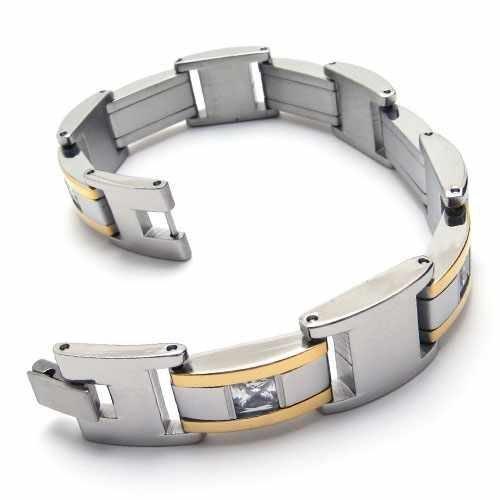 Fashion Jewelry Stainless Steel Bracelet Gold Slippy Frame Inset Clear Zircon Curb Chains Men Cuff Bracelets 18516