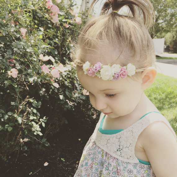2017girl Flower Crown Headband Tieback headband Newborn Photo Prop Headband Girls Flower Crown Hair Accessories