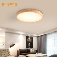 Современные светодиодный потолок светлого дерева потолочная лампа Панель для Гостиная круглое освещение приспособление Спальня Кухня зал дистанционного Управление
