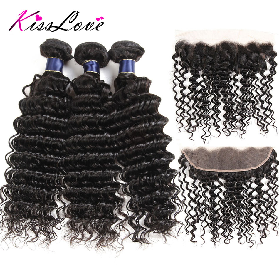 Kiss Love Brazilian Deep Wave Human Hair Bundles With Frontal With Bundles 3/4 Bundles With Frontal Remy Hair