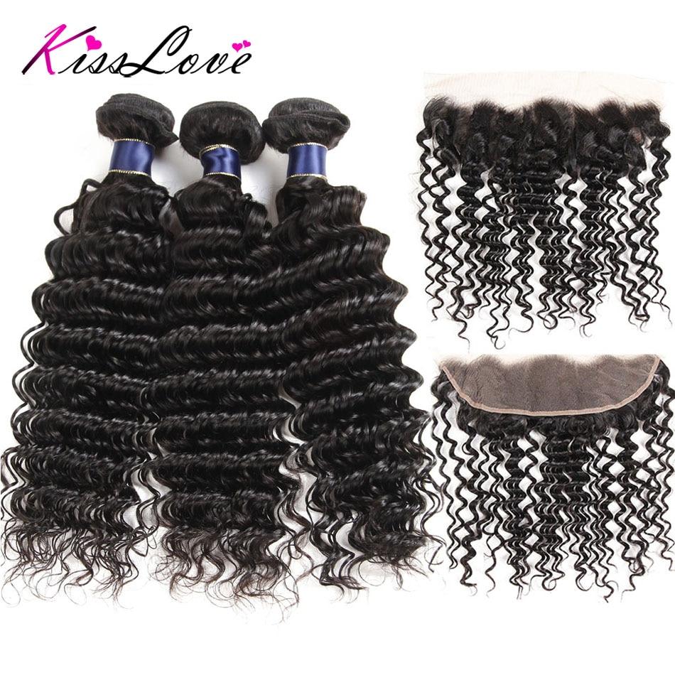 Kiss Love Brazilian Deep Wave Human Hair Bundles With Frontal With Bundles 3/4 Bundles With Frontal Remy Hair