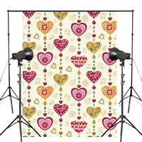 Colorful Heart shaped Pattern Photography Backdrops yellow Holiday Photo studio backgound Wall Bedroom Background 5x7ft