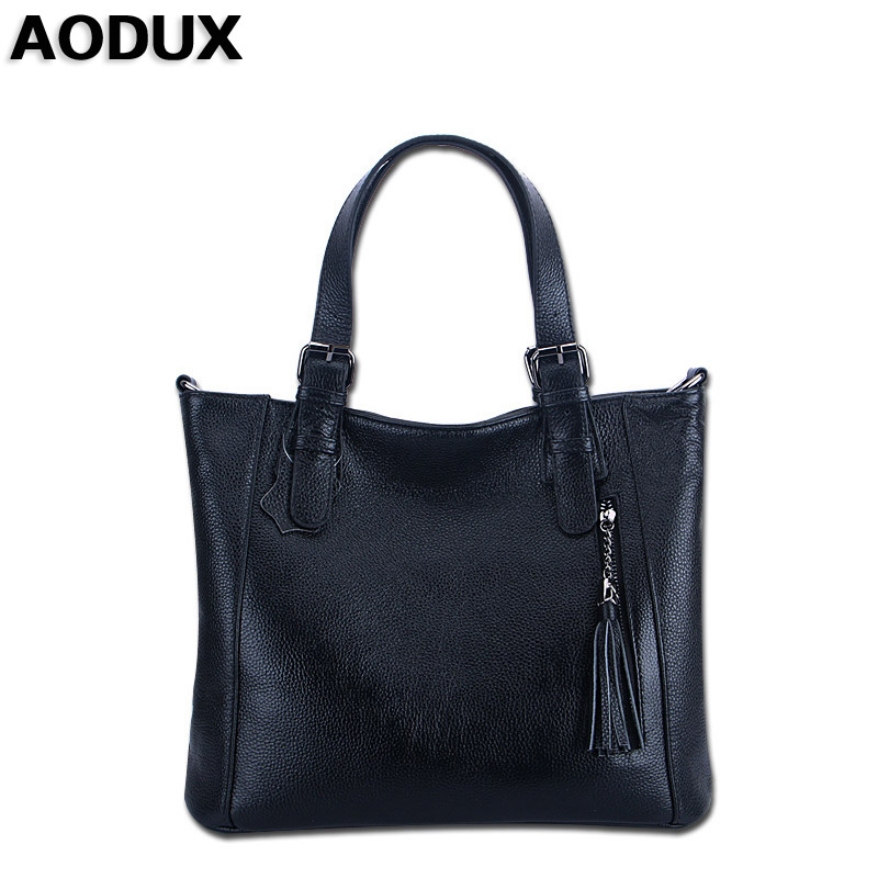 AODUX 2017 Genuine Leather Women Tote Bags Ladies Real Leather Handbags Long Strap Messenger Bag Hobo Satchel Tote Bolso zency new women genuine leather shoulder bag female long strap crossbody messenger tote bags handbags ladies satchel for girls