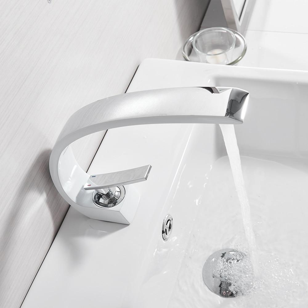 Robinets de bassin moderne salle de bain mitigeur laiton lavabo robinet mitigeur monotrou blanc cascade robinet robinets LH-16990 - 3