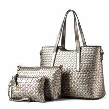 2017 3pcs set Fashion Knitting Women Handbag Composite Bag Tote Ladies Clutch Handbag Messenger Bag Female
