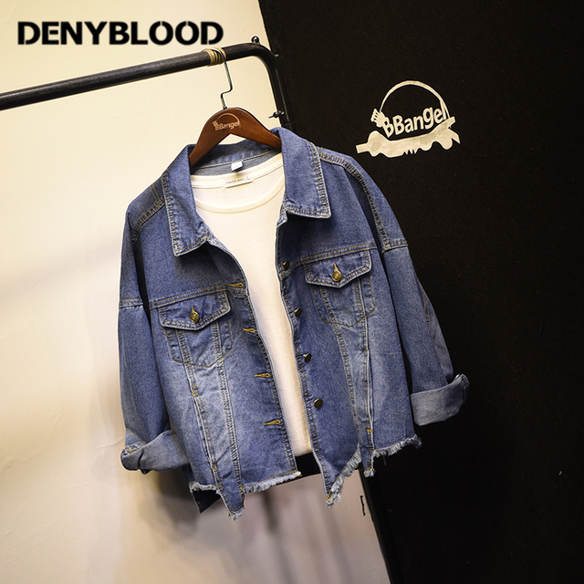 4604b38abcb Denyblood Jeans Womens Denim Jacket Distressed Jeans Ripped Vintage Washed  Raw Edge Bottom Loose Fit Coats WJ04