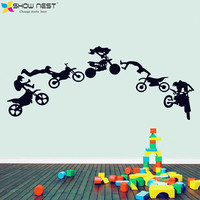 Motorcycle Stunt Wall Sticker Motorbike Poster Wall Decal Vinyl Stickers Art Wallpaper Adesivo De Parede DIY Home Decor Fashion