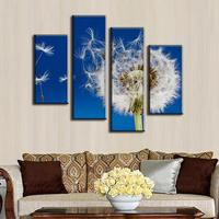 4 Pcs/set Combined Flower Painting Prints on Canvas Modern The Dandelion In Blue Background Wall Picture for Living Room