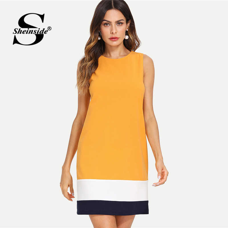 b1a5d1be427 Sheinside имбирь кроить и шить платье Colorblock шею Цельнокройное платье  без рукавов Для женщин летние Повседневное