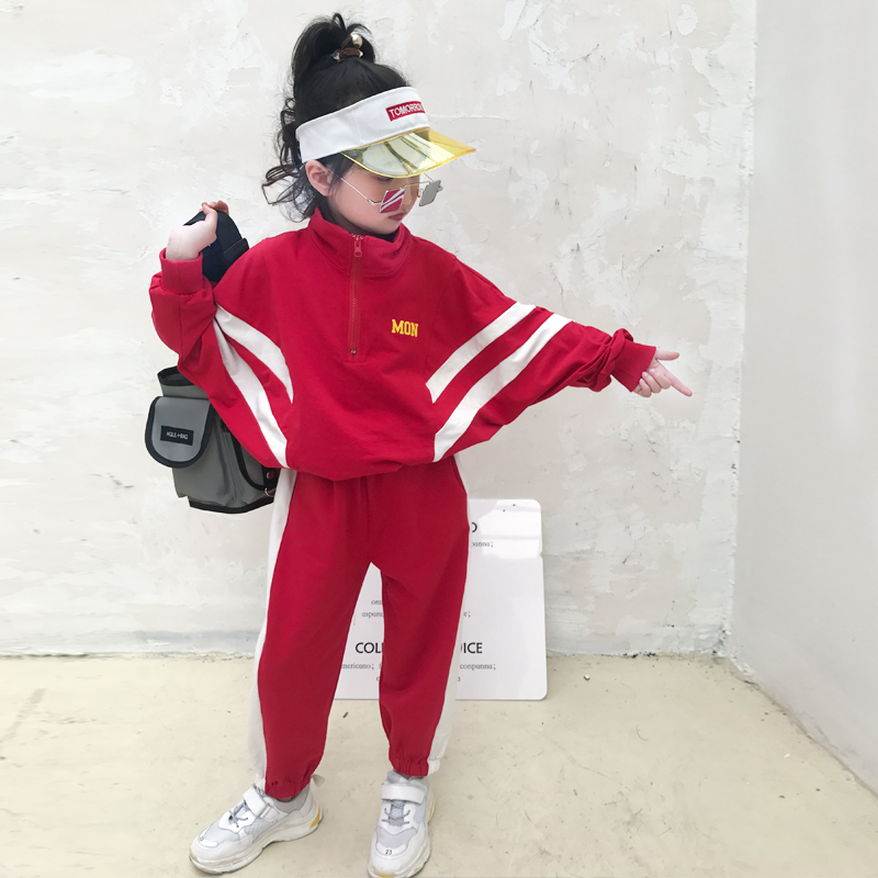 Baby girl suit 2019 new spring childrens Korean version of Hugh handsome fashion loose sports two-piece casual tide clothesBaby girl suit 2019 new spring childrens Korean version of Hugh handsome fashion loose sports two-piece casual tide clothes