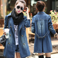 Autumn double breasted casual 100% cotton denim outerwear medium-long plus size denim hot female long-sleeve