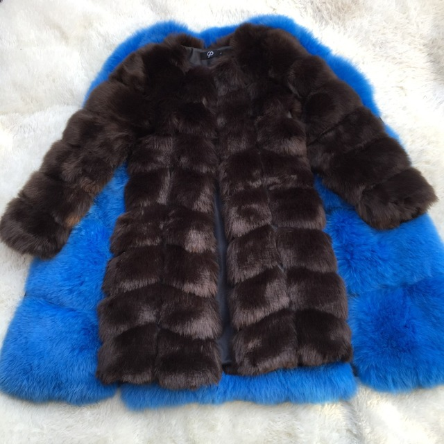 New Medium Long Fake Fox Fur Jacket Women Winter Faux Fox Fur Jackets Woman Warm Artifical Fox Fur Coats Female Ladies Fur 5