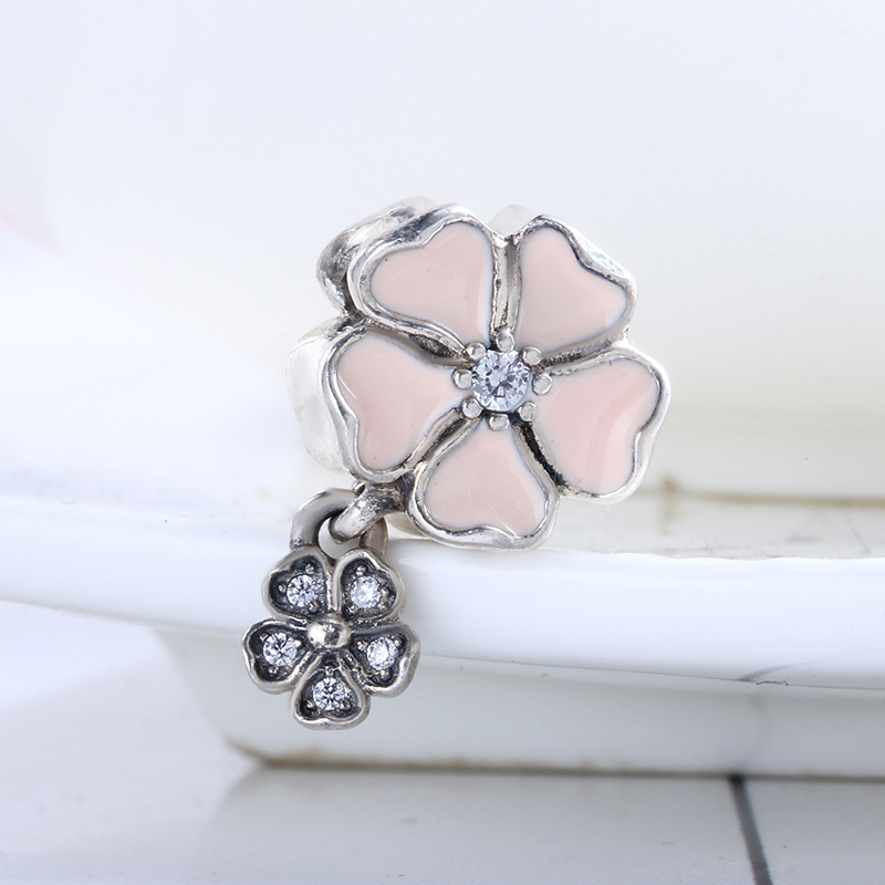 100% 925 Sterling Silver Fit Original Pandora Bracelet Poetic Blooms Soft Pink Enamel DIY Charms Beads for Jewelry Making Gift