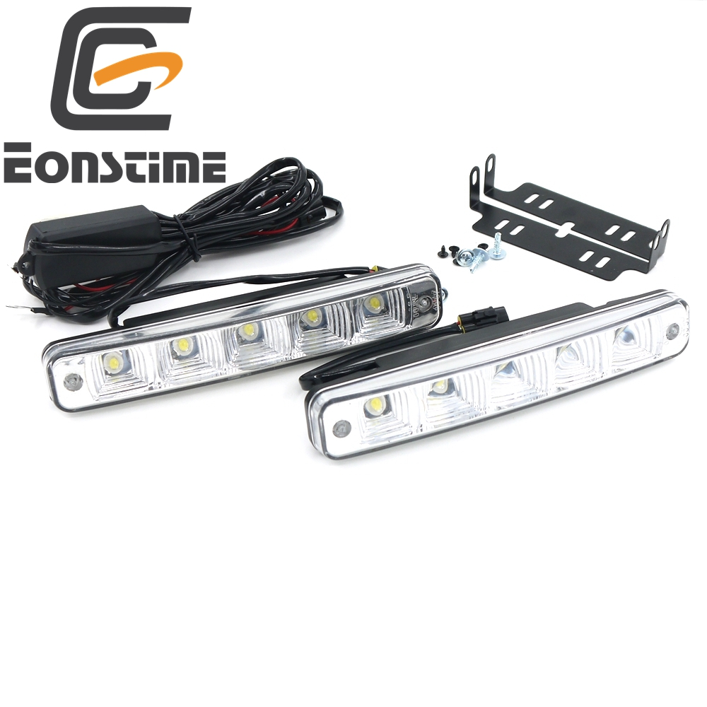 Eonstime 12V/12V 2pcs 10W 5 LED Car Lights Daytime Running Light High Power DRL Super Bright White 6500K LED housing aluminum 1wx5 70 90lm 6000 6700k white 5 led car daytime running light black dc 12v pair