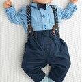 Equipos Del Bebé Muchacho Del Otoño Plaid Shirt Suspender Pantalones Trajes Formales De La Boda